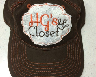 Distressed LACE Patch Monogram Cap • Baseball Style Hat • Applique Patch