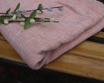 """Salmon Coral Colored Linen Tablecloth 56""""x85 1/2"""" Washed"""