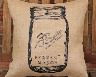 Hand Painted Mason Jar on Burlap Pillow Cover