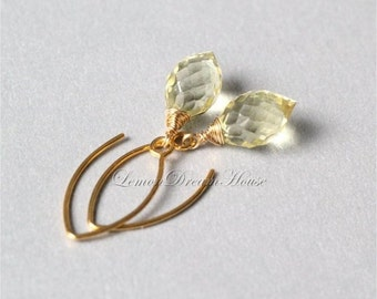 Gemstone Earrings, Lemon Quartz Micro Faceted Dew Drop Briolettes, Gold-filled Wire Wrapped, Vermeil Marquise Earwires. Dainty. Gift. E208b.