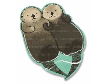 Significant Otters / Otters Holding Hands // Vinyl Sticker / Decal