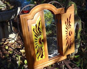 Furniture, Mirror, Sunburst, Carved Cabinet, Mirror Cabinet, Shutter Mirror, Wood Mirror, Boho, Yellow Orange, Eclectic Bohemian
