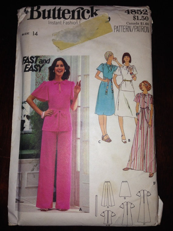 Butterick 4852 Sewing Pattern 70s Misses Dress, Top, Skirt, Pants and Belt Size 14