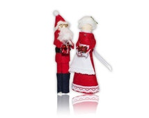 ASSEMBLED Santa and Mrs. Claus Clothespin Doll Ornament Kit