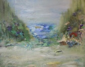 Dreamy,Ocean Painting, Pacific Northwest, Oregon Coast, Impressionism, Edge of the Ocean, 20x20 Kathleen Leasure Original Oil Painting