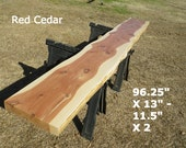 Live Edge Bar Top, Finished Red Cedar Wood Slab, Behind the Sofa Table, Natural Edge Buffet Table, Work Station, Foyer Table, Mantle 9004