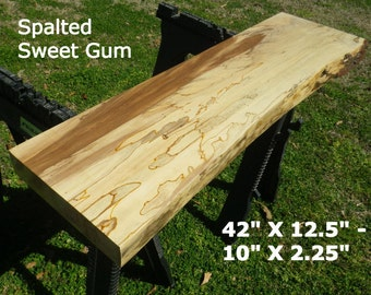 Live Edge Spalted Sweet Gum Wood Slab Finished Work Station, Natural Edge Shelf, Side Table Top, Foyer Table, Console Table, Desk Top 2110