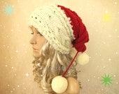 Santa Hat Adult Unisex Cable Knit Oversized Beret Baggy Neck Warmer Slouchy Christmas Santa Hat Unisex beanie Chunky Tube Scarf Pom Poms