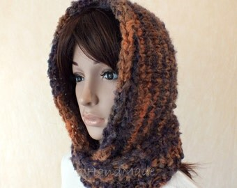 Hand Knit Hooded Scarf Chunky Mohair Wool Pom Pom Hat Infinity Hood Scarf  Hooded Cowl Winter Black Brown Hood Hand Home Spun Wool
