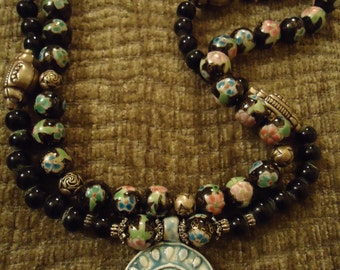 Boho Blue Glass Ornate Pendant Necklace with Handpainted Beads