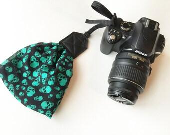 """Scarf Camera Wrist Strap - camera wrist strap - hand strap for dSLR digital cameras - black and teal skulls (5"""")"""