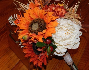 Fall Wedding Bouquet- Sunflower and Peony Bridal Bouquet, Unstructured Wedding Bouquet, Silk Flower Bouquet- Ready To Ship