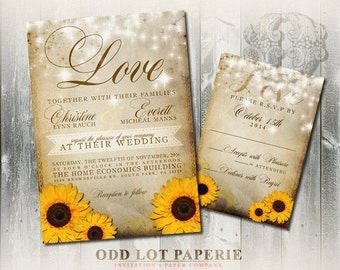 Rustic Sunflower Wedding Invitation and RSVP Yellow Sunflower Invitation Summer Wedding Fall Wedding DIY Printable Sunflower Wedding Set