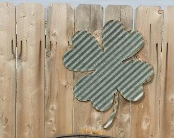 Shamrock/Vintage Corrugated Barn Tin/Sign/Wall Hanging/St. Patrick/Irish/Pub/ FREE SHIPPING