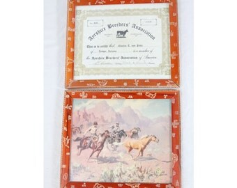 Vintage Reliance 10x12 Western Wood Picture Frames Pair Bull Cactus Cowboy Horse