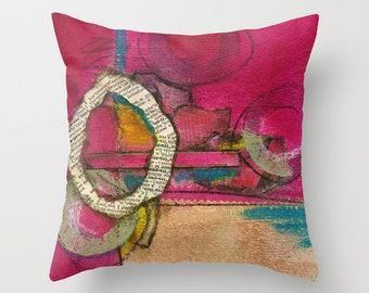 Throw Pillow, Uprising, pillow cover, Pink/Magenta Mixed Media Abstract Collage