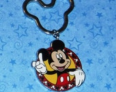 Mickey Mouse and Mickey Ears Key Ring, Re-purposed from Disney Trading Pin, 3 Inches Long