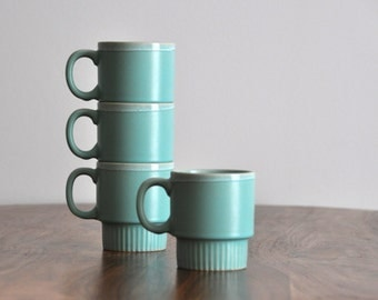Vintage Turquoise Coffee Cups - Teal Blue Ceramic Pottery Cup