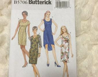 Butterick Misses Petite Semi-fitted Dress Sewing Pattern B5706 UC Uncut FF Size 16-18-20-22-24