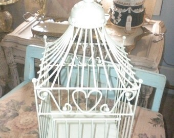SUMMER SALE Charming Metal Vintage Bird Cage, Shabby Chic, French Country, Eclectic