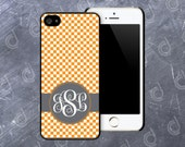 Checkerboard Banded Round Monogram Printed Cell Phone Case