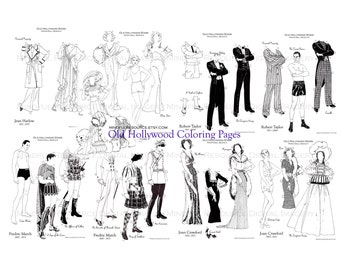 Movie Star Coloring Pages Printable Vintage Old Hollywood Paper Dolls Digital Download Bombshell Dandy Gowns Tuxedo Adult Colouring Pages