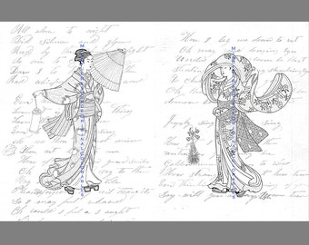 Geisha coloring page  Etsy