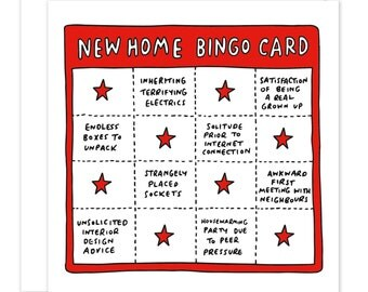 New Home Bingo Housewarming Moving House Funny/Sarcastic Card