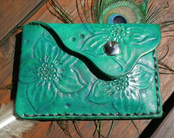 Handmade tooled leather slim wallet, credit card wallet, coin pouch, pocket wallet, leather wallet