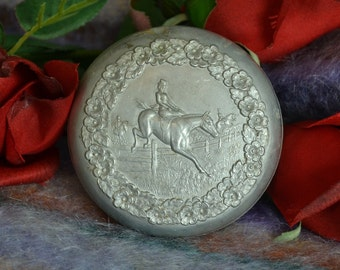 Vintage Horse Collectible Metal Box with Horse Jumping Horse Box Silver Horse Tin Equestrian Collectible