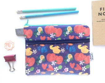 Fruits & Blossoms Divided Pouch Small (handmade philosophy's pattern)
