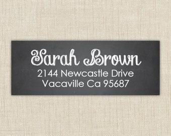 Custom return address labels, self-adhesive, rectangle, Chalkboard Label. Chalkboard return address label