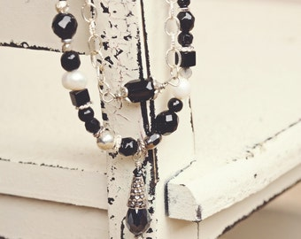 Black and White Necklace, Black and White Earrings, Silver Jewelry, Necklace and Earring Set