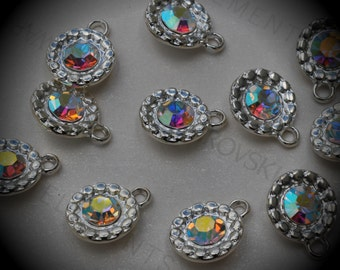Genuine Silver Plated Swarovski Crystal  Daisy Flowers Charms In Crystal AB