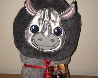 Rhino Hooded Bath Towel with 3D Ears