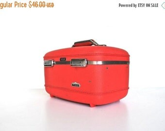 ON SALE Red Vintage Train Case - American Tourister Tiara Makeup Case, Suitcase, Luggage