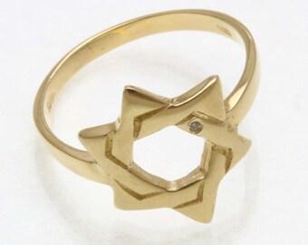 Vintage 14k yellow gold woven Jewish Star of David Diamond Ring Estate Judaica