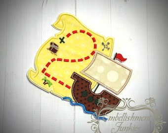 Treasure map birthday number two iron on applique, Pirate treasure map with ship, embroidery birthday number 2 iron on applique, Premade