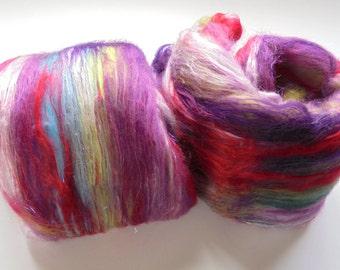 FIELD OF LAVENDER Soft Merino Batt, Bamboo Batt, Silk Art Batt, Spinning Batt, Felting Batt, Spinning Fiber, Spinning Wheel Fiber, Art Batt