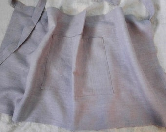 Grey linen half apron made of prewashed and softened fabric. Unisex apron.