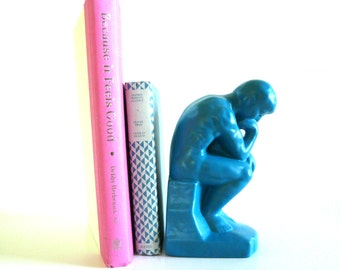 thinking man statue, bookend, teal blue, ceramic statues, mid century modern