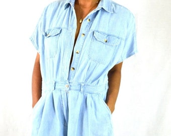 ON SALE Faded Blue Denim Vintage Shorts Set
