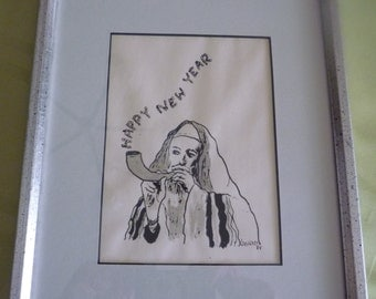 Vintage Judaica Happy New Year print with man blowing Shofar, by Kashner 1984 signed
