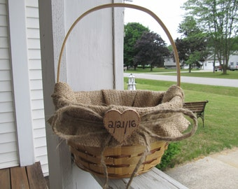 Rustic Burlap Flower Girl Basket - Personalized For Your Woodland Wedding Day