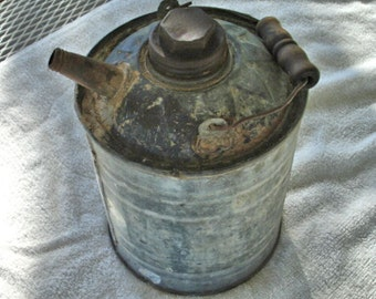 Vintage Galvanized Gas Can Farm Can Ranch Rustic Can Metal Gas Can Man Cave Garage Shop Can