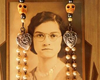 Bone Skull Pearl Hematite and Silver Heart Duster Earrings