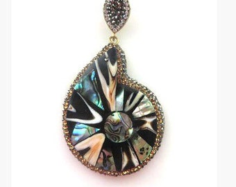 Pave Marquise Abalone Statement Pendant