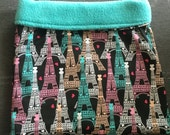 Eiffel Tower Cotton and Teal Fleece Snuggle Bag