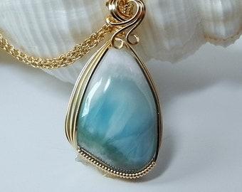 Larimar Pendant, Turtleback, Dominican Republic, Blue Pectolite, Turquoise Necklace, Wedding Pendant, Larimar Jewelry, Gold Fill Chain