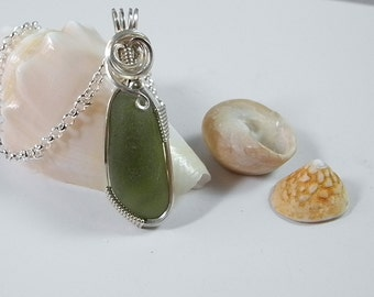 Forest Green Sea Glass Pendant,  Wire Wrapped in Sterling, Green Beach Glass, Genuine Seaglass Necklace, Fine Quality Sea Glass, California